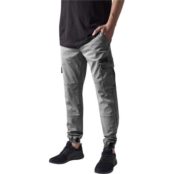 Washed Cargo Twill Jogging Pants Grey