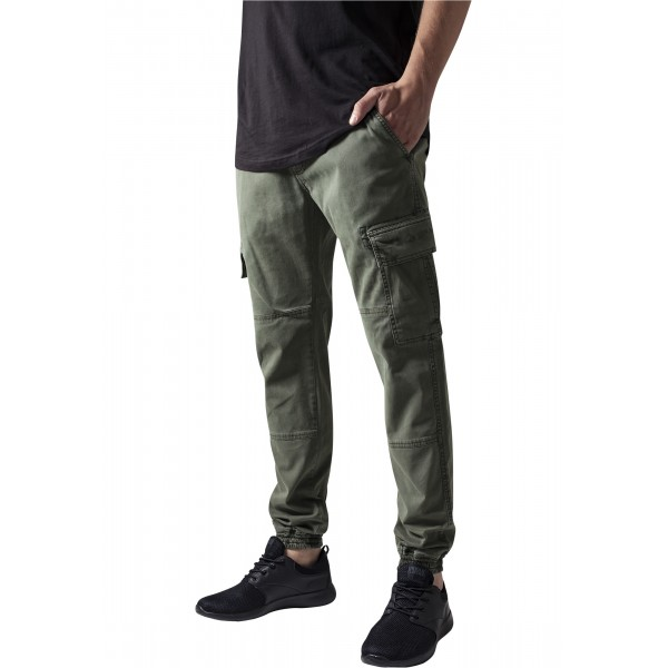 Washed Cargo Twill Jogging Pants Olive
