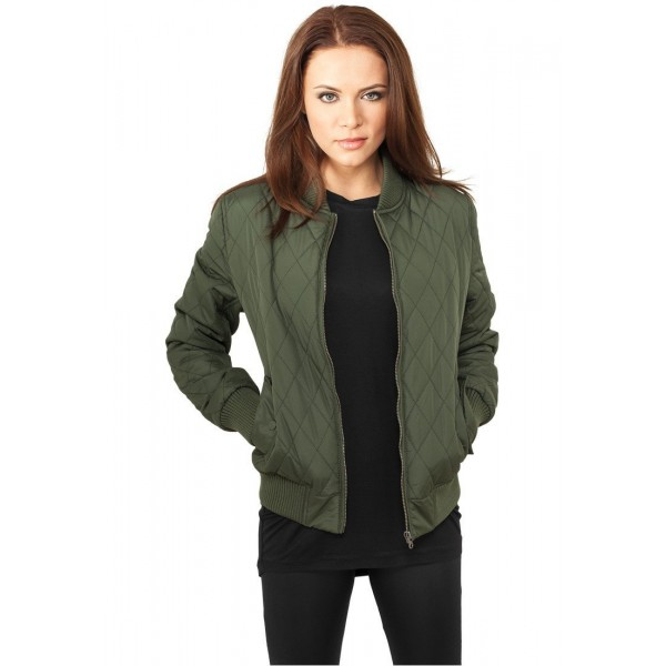 URBAN CLASSICS DIAMON JACKET WOMEN GREEN